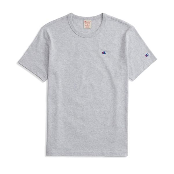 Champion Reverse Weave Script Logo Back Crew Neck T-Shirt (Light Oxford Grey)
