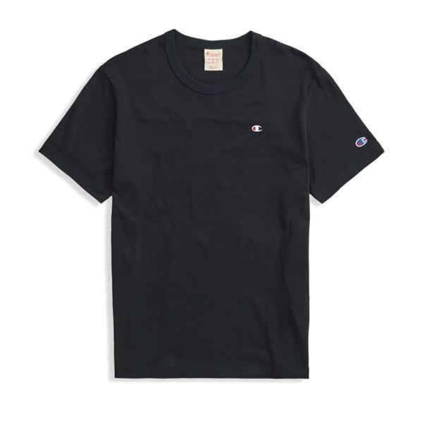 Champion Reverse Weave Script Logo Back Crew Neck T-Shirt (New Black)