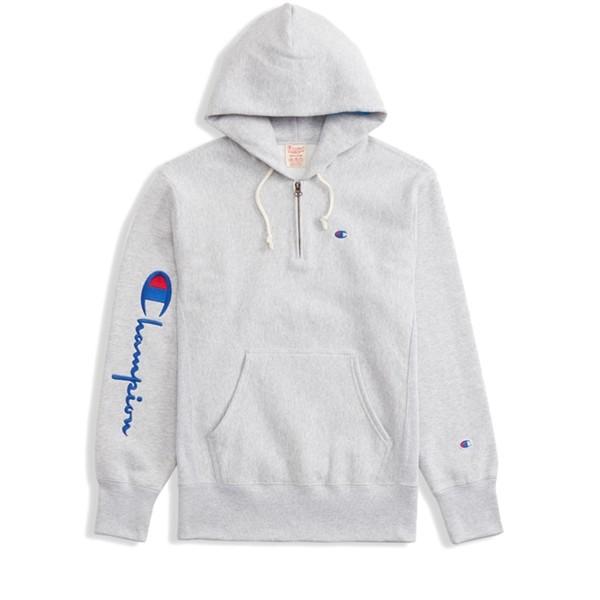 Champion Reverse Weave Logo Half Zip Pullover Hooded Sweatshirt (Light Grey Melange)