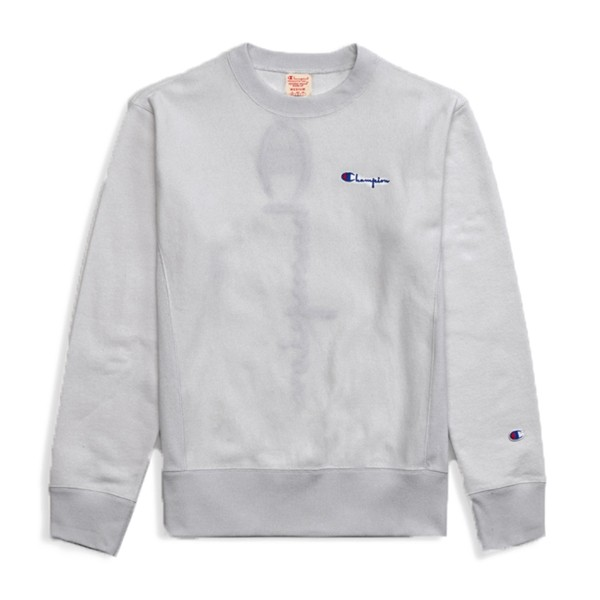 Champion Reverse Weave Vertical Script Applique Crew Neck Sweatshirt (Light Oxford Grey)