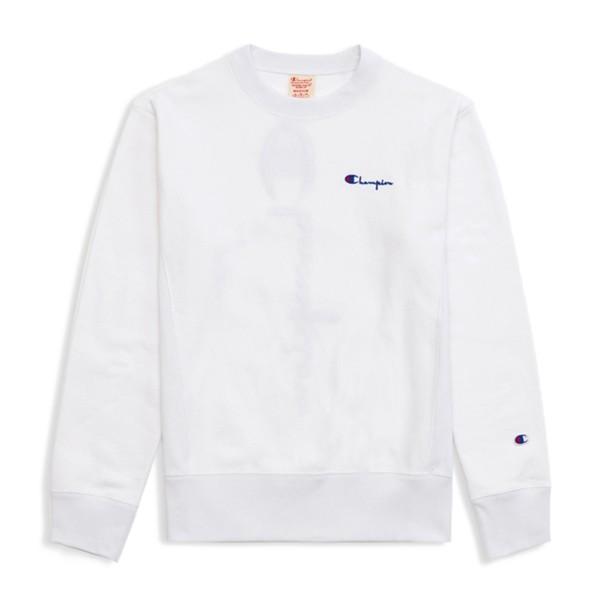 Champion Reverse Weave Vertical Script Applique Crew Neck Sweatshirt (White)