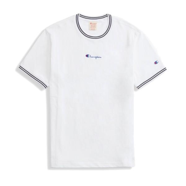 Champion Reverse Weave Striped Ringer Small Script Logo T-Shirt (White)