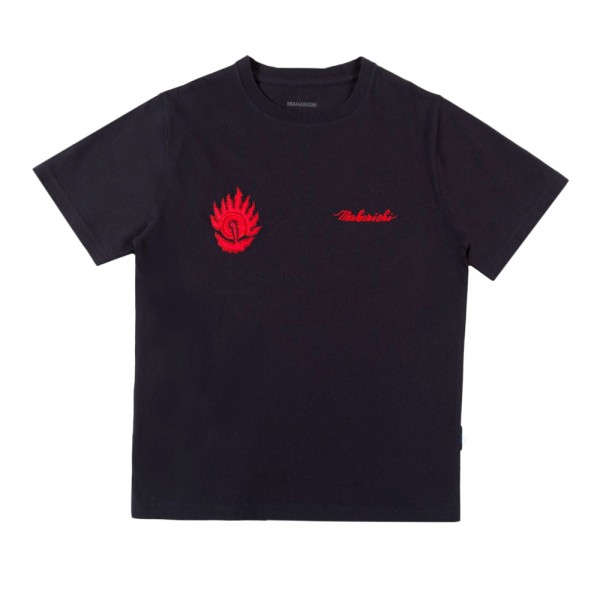 Maharishi Pearl of Wisdom T-Shirt (Navy Lotus Jewel Embroidery)