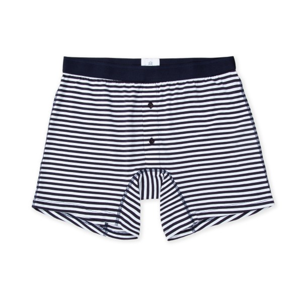 Sunspel Stripe Two Button Boxer Short (Navy/White)