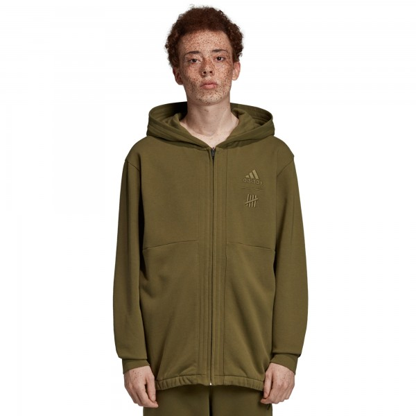 adidas by UNDEFEATED Full Zip Hooded Sweatshirt (Olive Cargo)