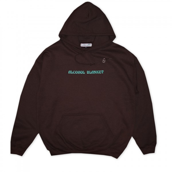 Alcohol Blanket Logo Embroidered Pullover Hooded Sweatshirt (Brown)