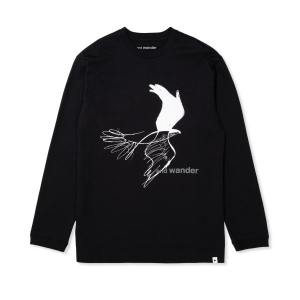 and wander Bird Printed Long Sleeve T-Shirt (Black)