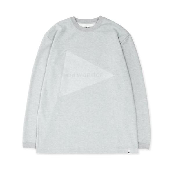 and wander Embossed Logo Long Sleeve T-Shirt (Grey)