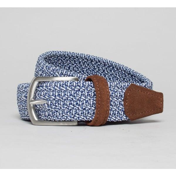 Anderson's Plaited Elasticated Belt (Navy Marl/Tan)