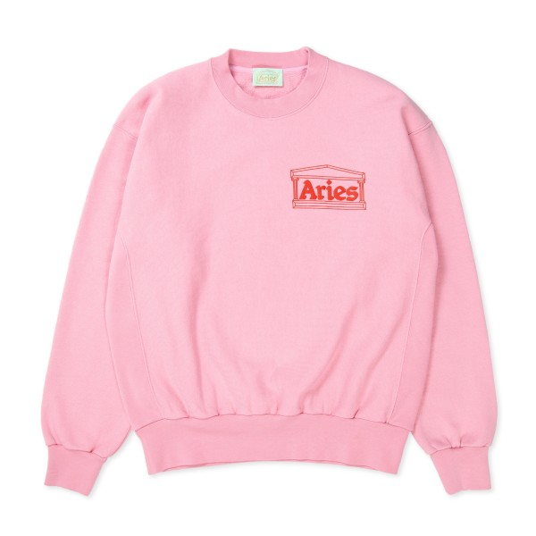 Aries Classic Cross Grain Temple Crew Neck Sweatshirt (Pink)