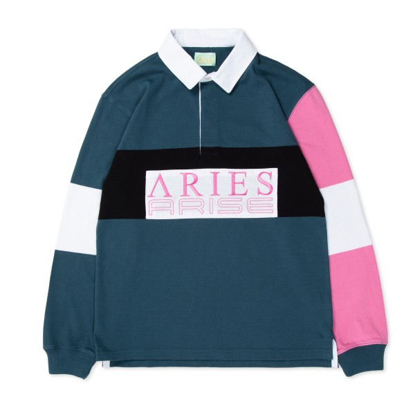 Aries Colour-Blocked Rugby Shirt (Petrol)