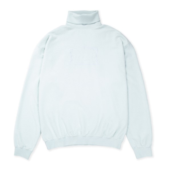 Aries Reverse Fleece Turtleneck Sweatshirt (Pale Blue)