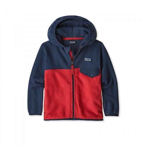 Baby Patagonia Micro D Snap-T Fleece Jacket (Fire w/New Navy)