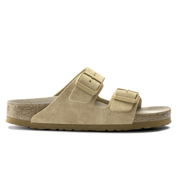 Birkenstock Arizona Soft Footbed Suede Leather Narrow Fit (Latte Cream)