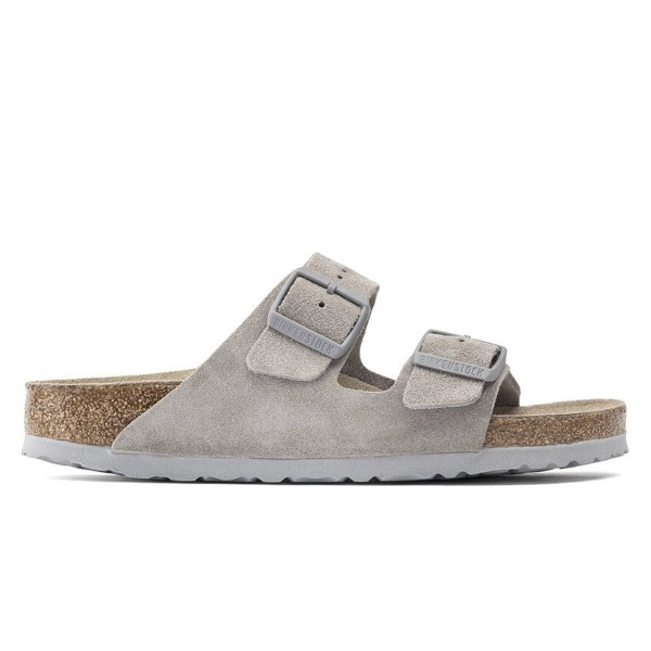Birkenstock Arizona Soft Footbed Suede Leather Narrow Fit (Stone Coin)