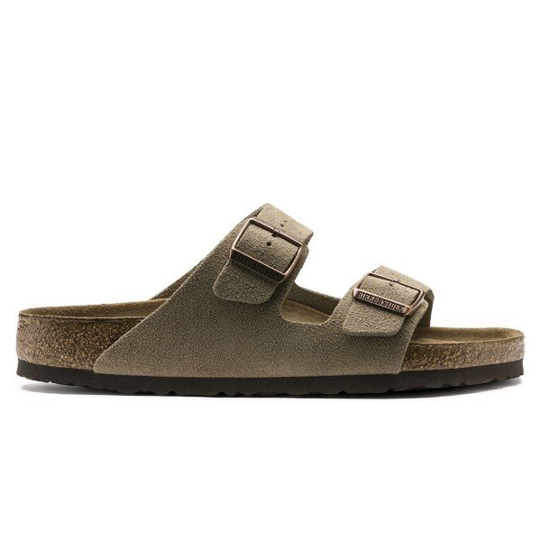 Birkenstock Arizona Soft Footbed Suede Leather Narrow Fit (Taupe)