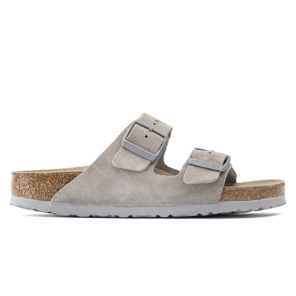Birkenstock Arizona Soft Footbed Suede Leather Regular Fit (Stone Coin)
