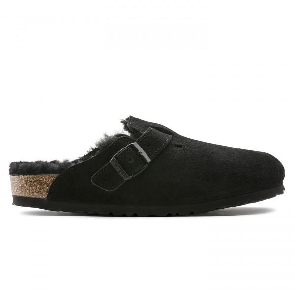 Birkenstock Boston Fur Suede Leather Regular Fit (Black)