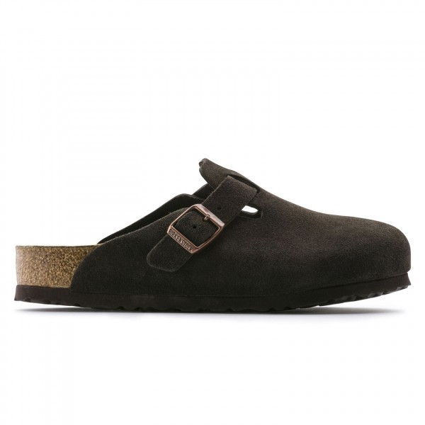 Birkenstock Boston Soft Footbed Suede Leather Narrow Fit (Mocha)