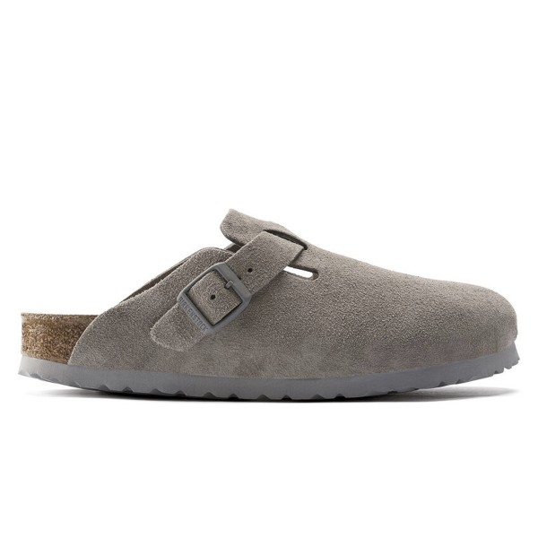 Birkenstock Boston Soft Footbed Suede Leather Narrow Fit (Stone Coin)