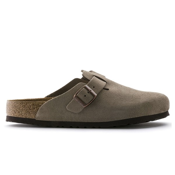 Birkenstock Boston Soft Footbed Suede Leather Narrow Fit (Taupe)