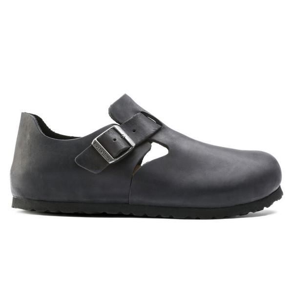 Birkenstock London Oiled Leather Narrow Fit (Black)