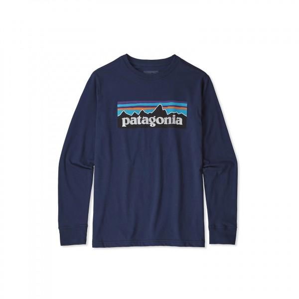 Boys' Patagonia Graphic Organic Cotton Long Sleeve T-Shirt (P-6 Logo: Classic Navy)