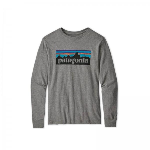 Boys' Patagonia Graphic Organic Cotton Long Sleeve T-Shirt (P-6 Logo: Gravel Heather)