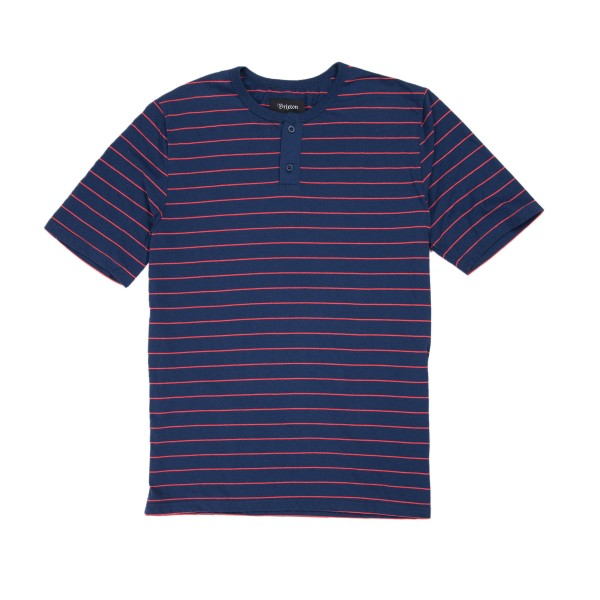 Brixton Townsend Short Sleeve Henley (Navy/Red)