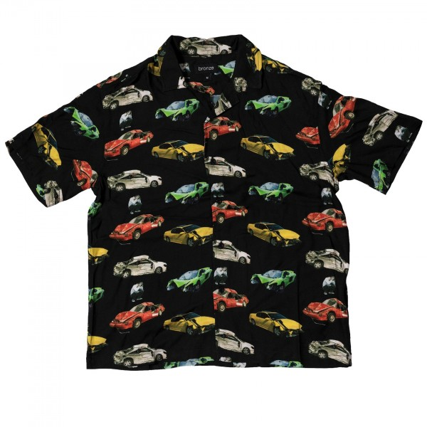 Bronze 56k Wrecked Cars Button Up Shirt (Black)