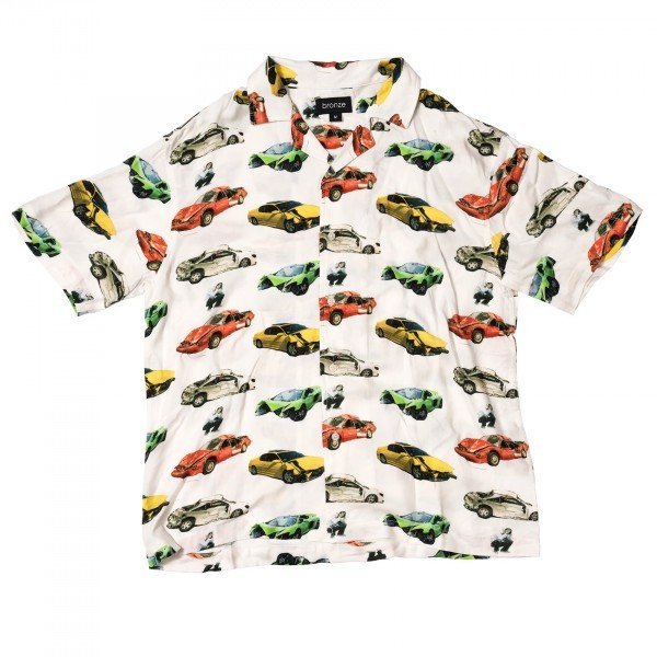 Bronze 56k Wrecked Cars Button Up Shirt (Oyster White)