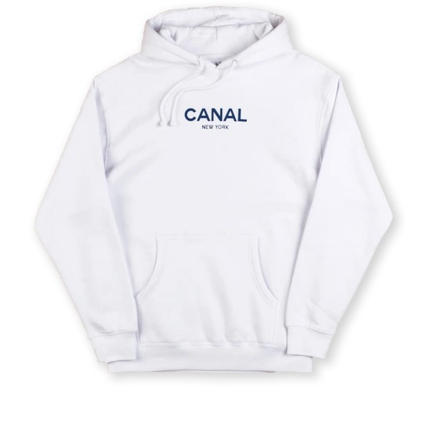 Canal Classic Logo Pullover Hooded Sweatshirt (White)