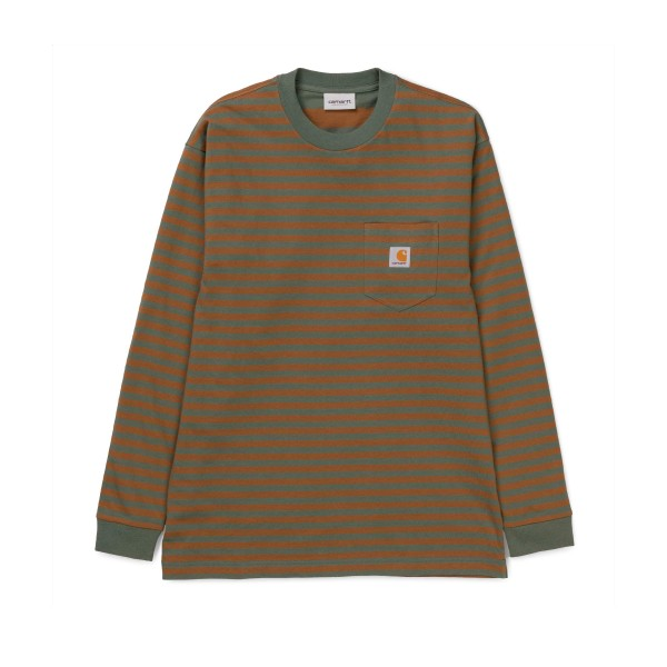 Carhartt Barkley Long Sleeve Pocket T-Shirt (Barkley Stripe, Adventure/Hamilton Brown)