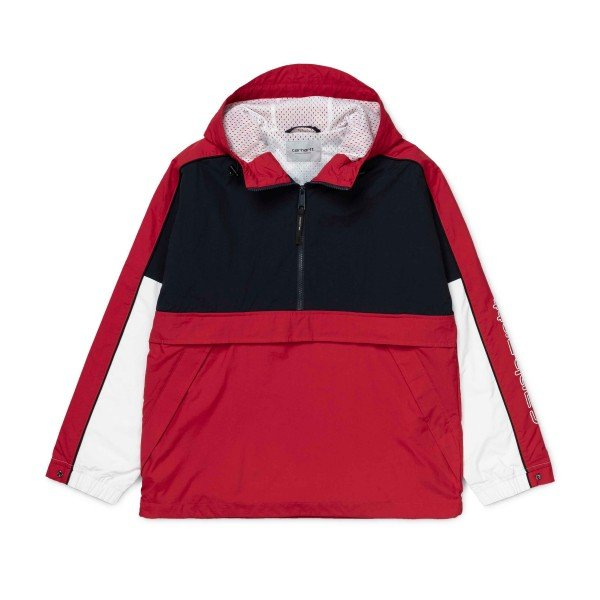 Carhartt Terrace Pullover Half Zip Jacket (Dark Navy/Cardinal/White)