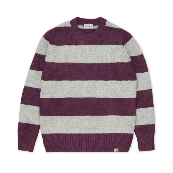 Carhartt WIP Alvin Stripe Sweater (Boysenberry/Grey Heather)