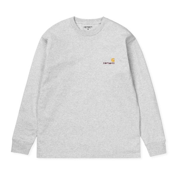 Carhartt WIP American Script Long Sleeve T-Shirt (Ash Heather)