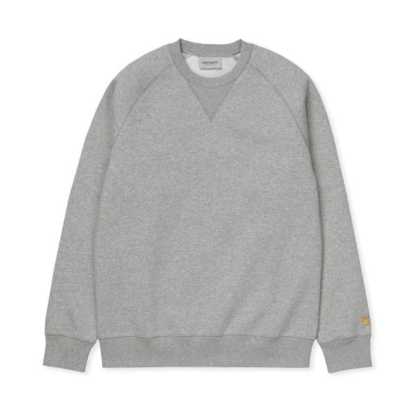 Carhartt WIP Chase Crew Neck Sweatshirt (Grey Heather/Gold)