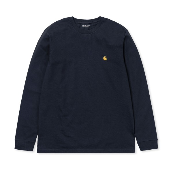 Carhartt WIP Chase Long Sleeve T-Shirt (Dark Navy/Gold)