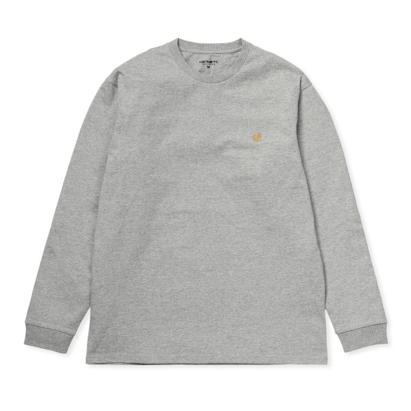 Carhartt WIP Chase Long Sleeve T-Shirt (Grey Heather/Gold)