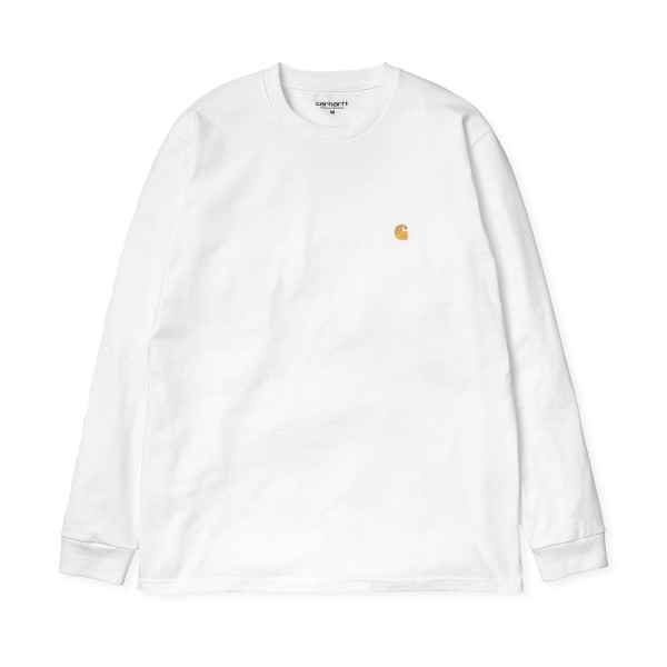 Carhartt WIP Chase Long Sleeve T-Shirt (White/Gold)