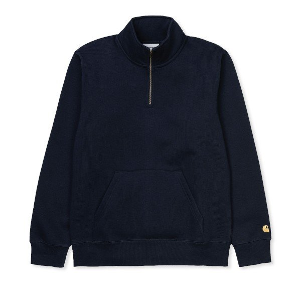 Carhartt WIP Chase Neck Zip Sweatshirt (Dark Navy/Gold)