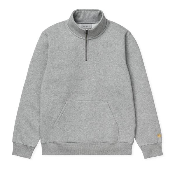 Carhartt WIP Chase Neck Zip Sweatshirt (Grey Heather/Gold)