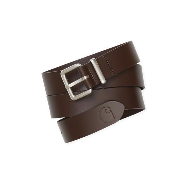 Carhartt WIP Logo Belt (Leather Dark Brown/Silver)