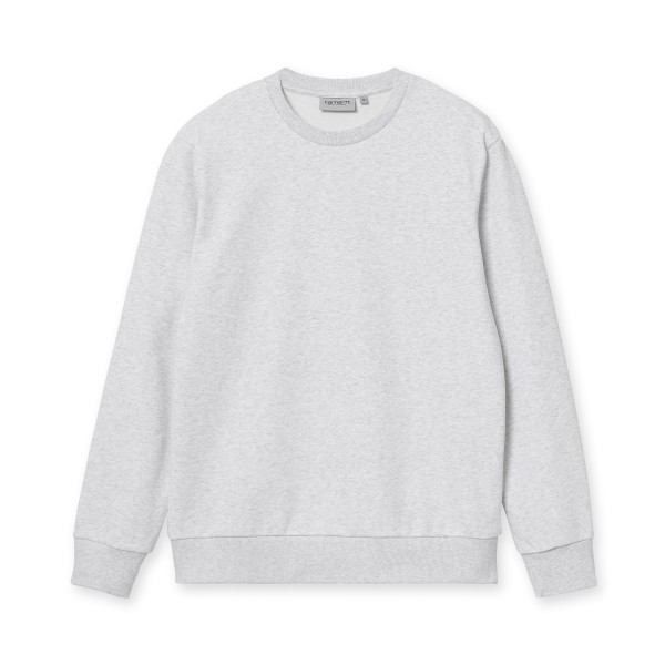 Carhartt WIP Script Embroidery Crew Neck Sweatshirt (Ash Heather/White)