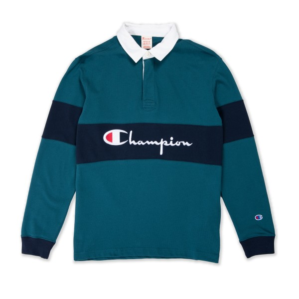 Champion Reverse Big Script Long Sleeve Polo Shirt (Teal/Navy)