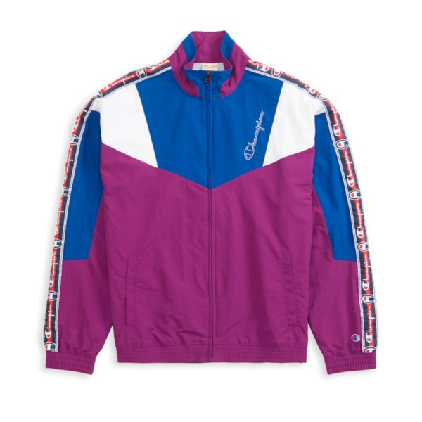 Champion Reverse Weave Colour Block Logo Tape Track Jacket (Dark Purple)