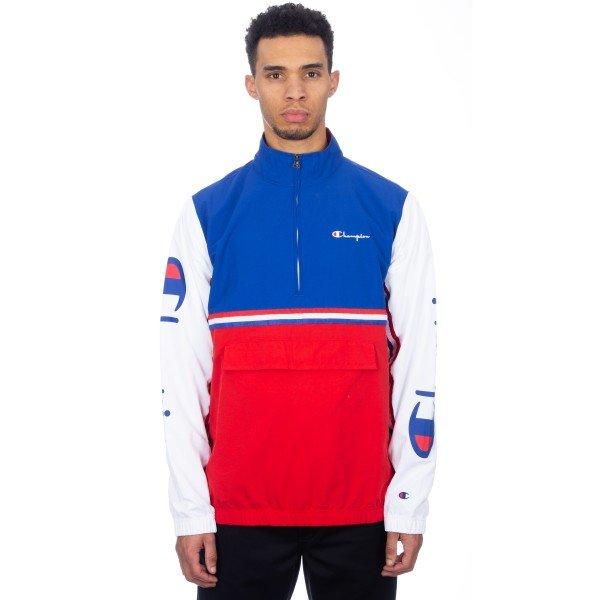 Champion Reverse Weave Half-Zip Pullover Striped Track Jacket (Red)