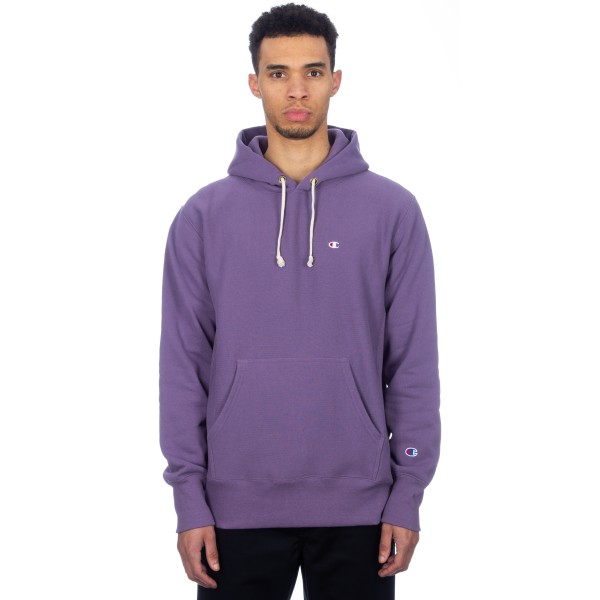Champion Reverse Weave Hood Script Applique Pullover Hooded Sweatshirt (Purple)