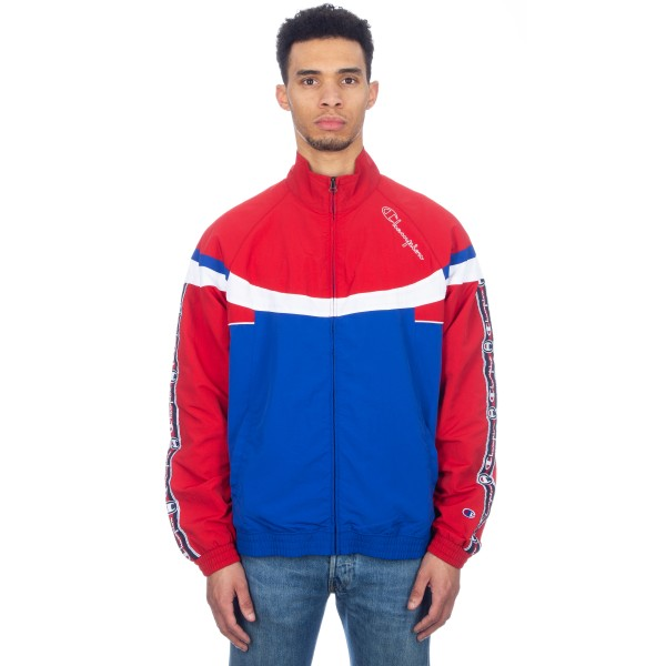 Champion Reverse Weave Jacquard Tape Logo Full Zip Track Top (Blue/Red/White)