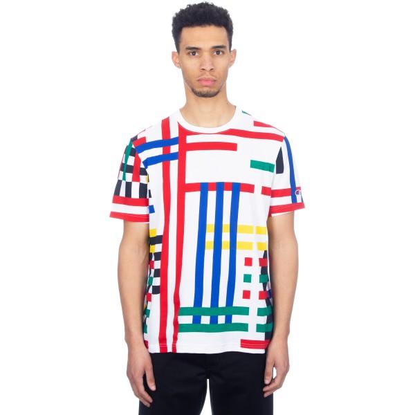 Champion Reverse Weave Multi Stripe Crew Neck T-Shirt (White/Multi)